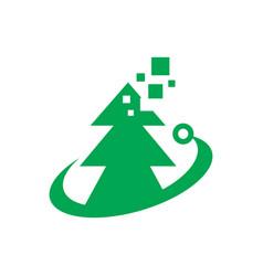 digital tree logo vector image