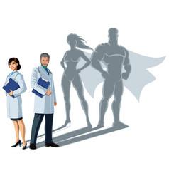 doctor superheroes shadow vector image