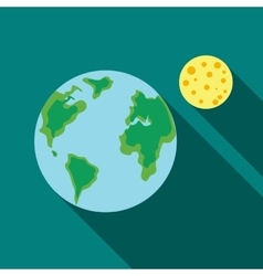 Earth and the Moon icon flat style vector image