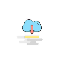 flat cloud downloading icon vector image