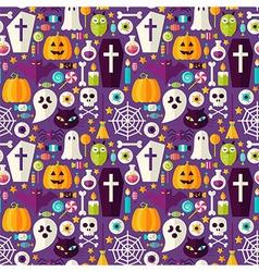 Flat Purple Halloween Party Seamless Pattern vector image