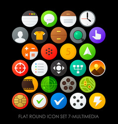 Flat round icon set 7-multimedia vector