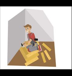 Floor installation expert man installer poster vector