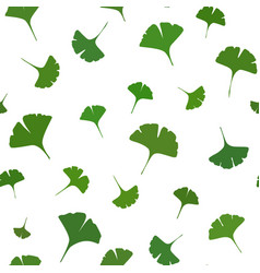Ginkgo leaves seamless pattern on white background vector