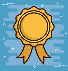 Golden medal icon vector