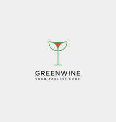 Green leaf wine glass line simple logo template vector