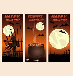 Halloween vertical banners set happy halloween vector