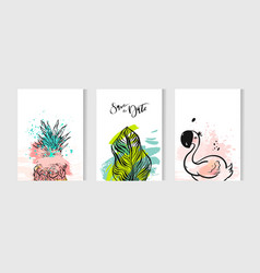 hand drawn abstract summer time cards set vector image