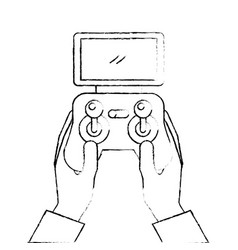 Hands holding control remote advance for drones vector