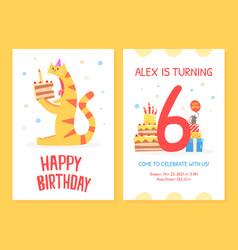 happy birthday invitation card template funny vector image