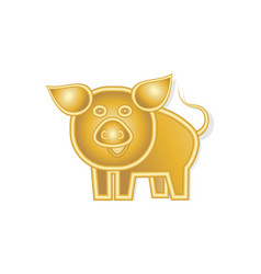 Happy cheerful golden pig 2019 suitable for a vector