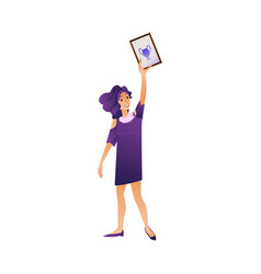 happy female student graduate holding diploma in vector image