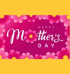 happy mothers day pink flowers vector image