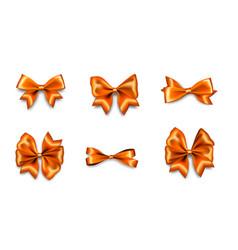 holiday satin gift bow knot ribbon orange gold vector image