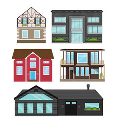 Houses in flat style isolated set vector