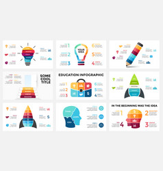 infographic set light bulb idea education vector image