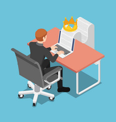 isometric businessman typing on laptop vector image