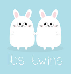 Its twins two girls cute twin bunny rabbit set vector