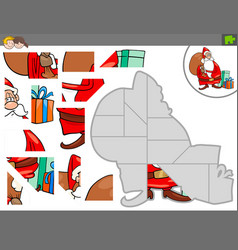 Jigsaw puzzle game with christmas santa vector