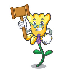 Judge daffodil flower mascot cartoon vector