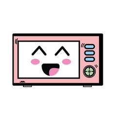 Kawaii cute happy microwaves technology vector