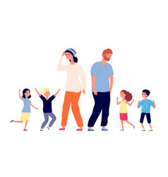 large family tired parents happy excited vector image