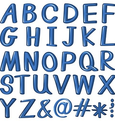 Letters of the alphabet in blue color vector image