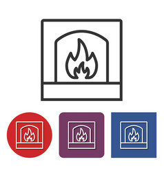 line icon of fireplace vector image