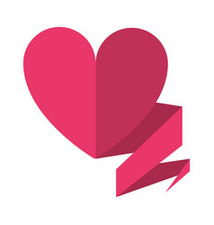 Love heart with ribbon decoration vector