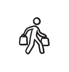 Man carrying shopping bags sketch icon vector