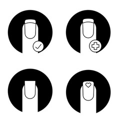 Manicure glyph icons set vector