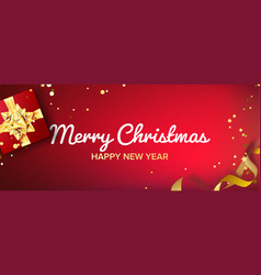 merry christmas banner gifts box with gold vector image