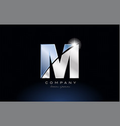 Metal blue alphabet letter m logo company icon vector