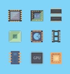 microprocessor and electronic chips icons set vector image