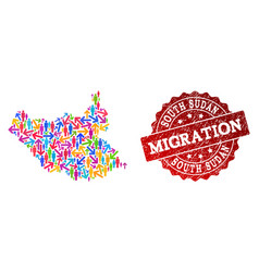 Migration collage of mosaic map of south sudan and vector