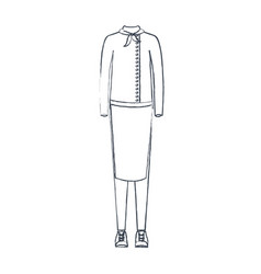 Monochrome blurred silhouette of female uniform of vector