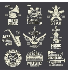 Music School And Shops Monochrome Emblems vector image