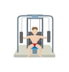 Naked man training muscles on gym machine icon vector image