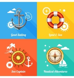 Nautical design concept 4 flat icons vector