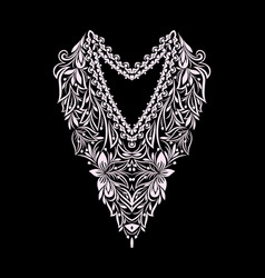 neckline - ethnic floral design vector image
