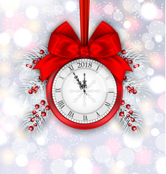 New year decoration with clock on light background vector
