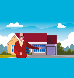 Old man standing next house exterior vector