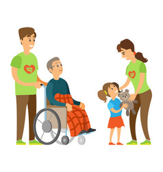Orphan and handicapped volunteering care vector