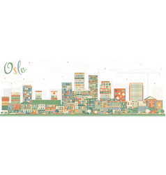 Oslo norway skyline with color buildings vector