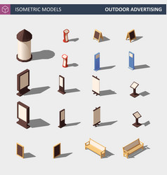 outdoor advertising media set - isometric vector image