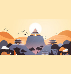 pagoda buildings in traditional style pavilions vector image