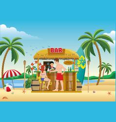 people gathering at beach bar vector image