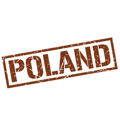 Poland brown square stamp vector