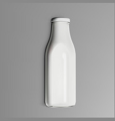 realistic clear milk bottle isolated on gray vector image