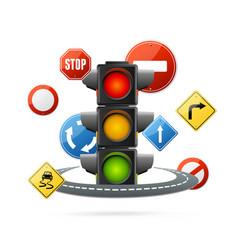 realistic detailed 3d traffic light illuminated vector image